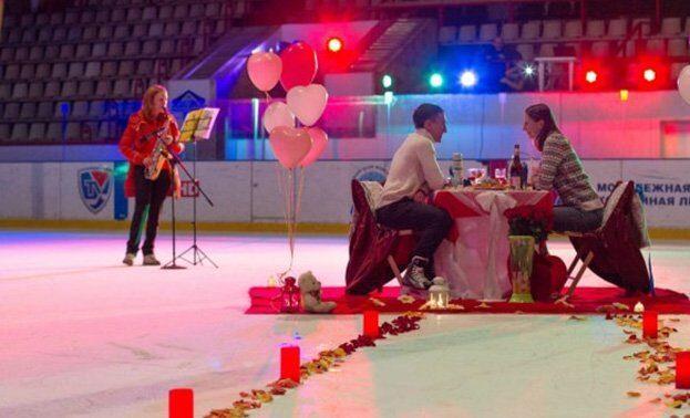 романтический ужин на льду