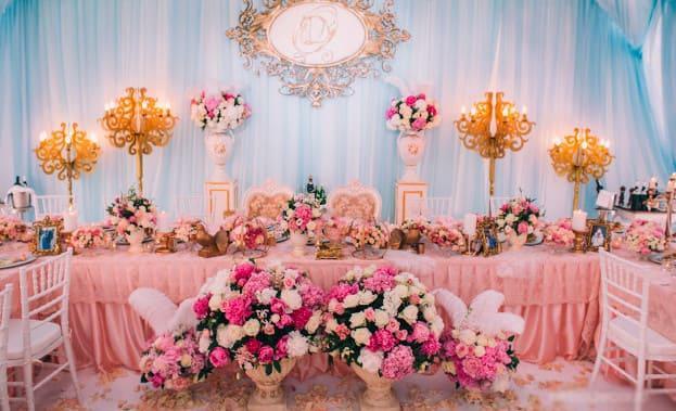 Фото свадебного стола сцветами